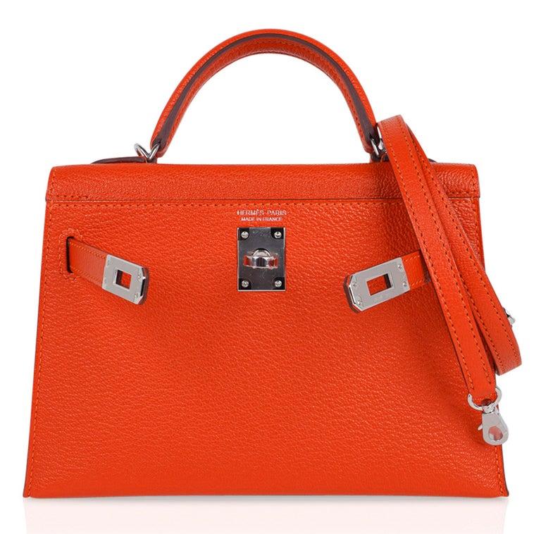 Hermes Kelly Mini Sellier 20 Bag Feu / Rose Eglantine Chevre Bi-color Palladium For Sale 4