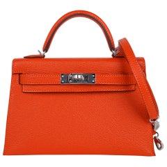 Hermes Kelly Mini Sellier 20 Bag Feu / Rose Eglantine Chevre Bi-color Palladium