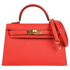 Hermes Kelly Sellier 20 Rouge Tomate Epsom Leather Gold Hardware New w/Box
