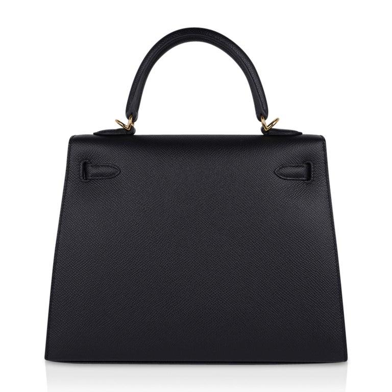 Hermes Kelly Sellier 25 Bag Black Epsom Gold Hardware New For Sale 7