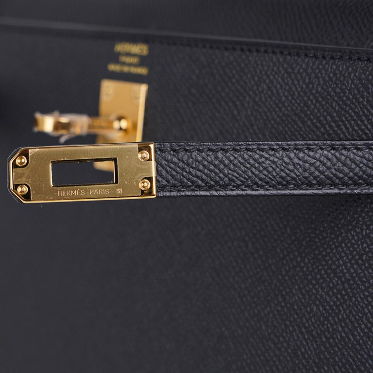 Hermes Kelly Sellier 25 Bag Black Epsom Gold Hardware New In New Condition For Sale In Miami, FL