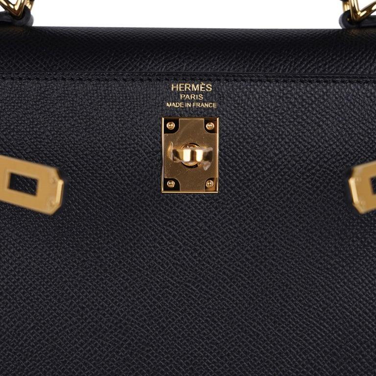 Women's Hermes Kelly Sellier 25 Bag Black Epsom Gold Hardware New For Sale