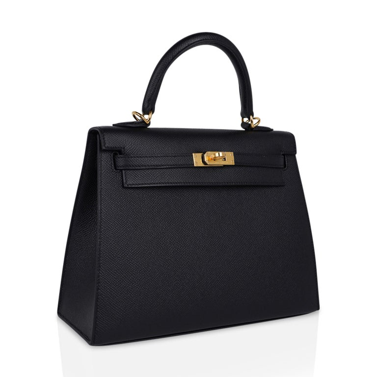 Hermes Kelly Sellier 25 Bag Black Epsom Gold Hardware New For Sale 1