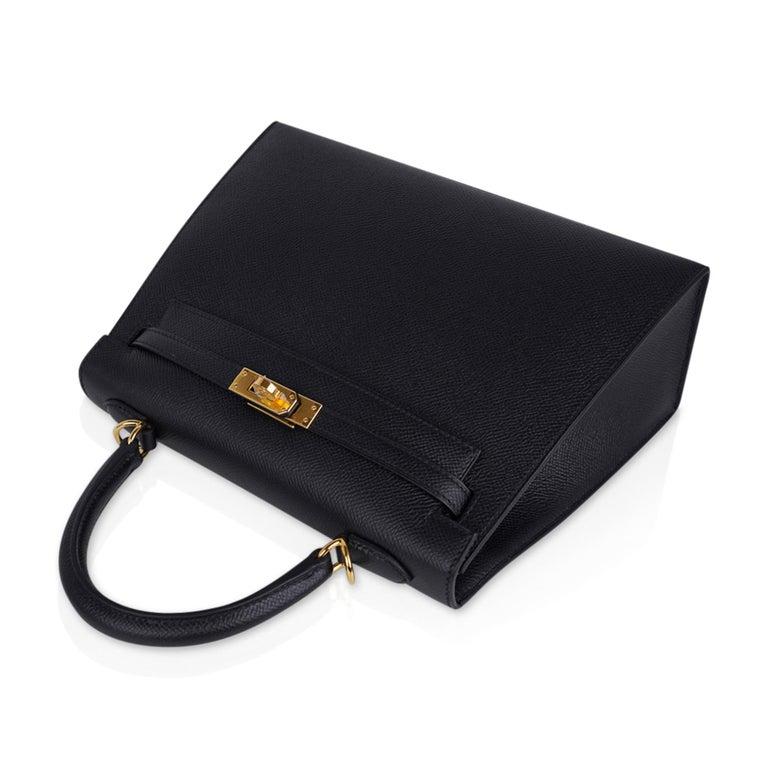 Hermes Kelly Sellier 25 Bag Black Epsom Gold Hardware New For Sale 2
