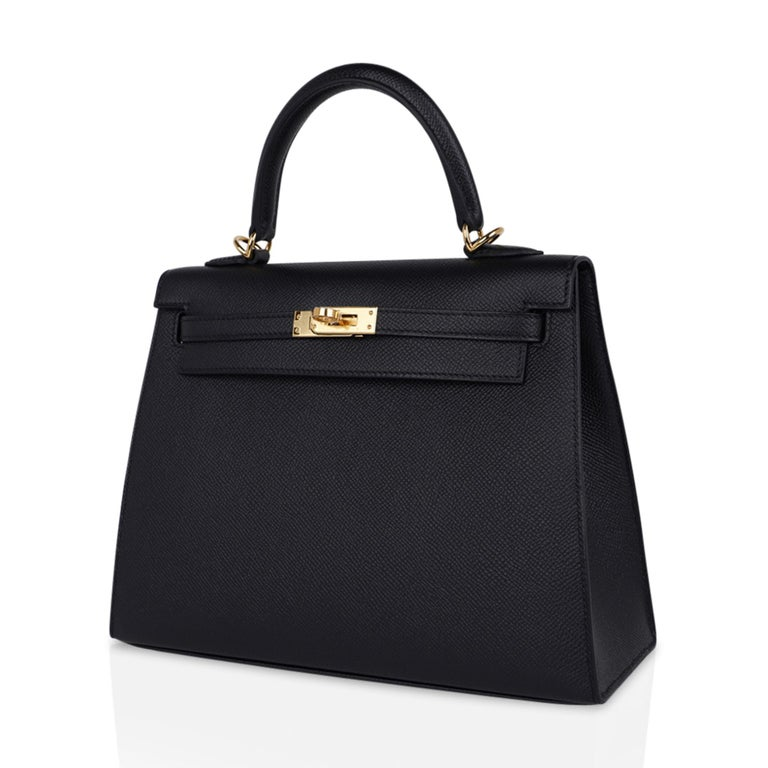 Hermes Kelly Sellier 25 Bag Black Epsom Gold Hardware New For Sale 3