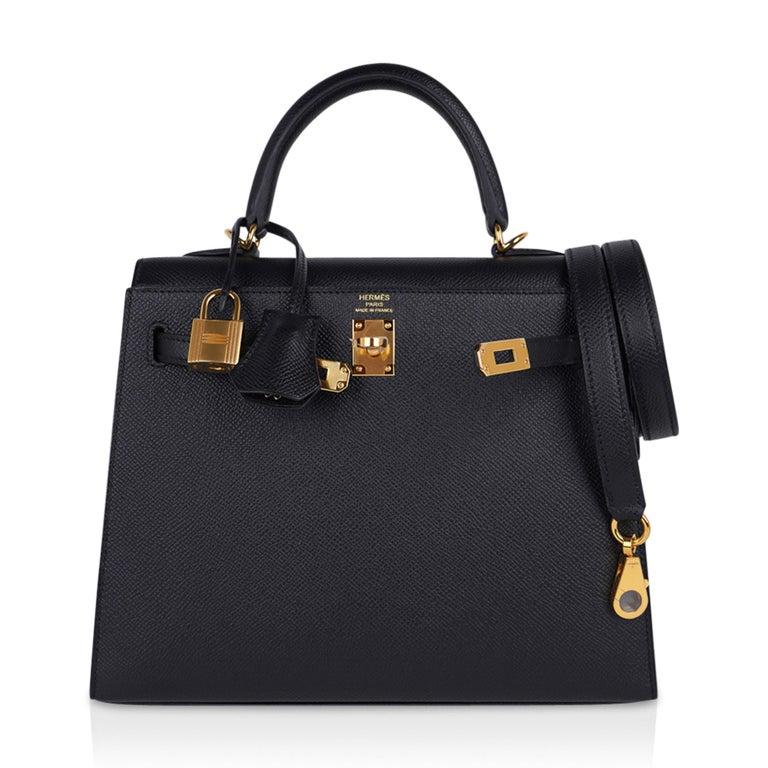 Hermes Kelly Sellier 25 Bag Black Epsom Gold Hardware New For Sale 5