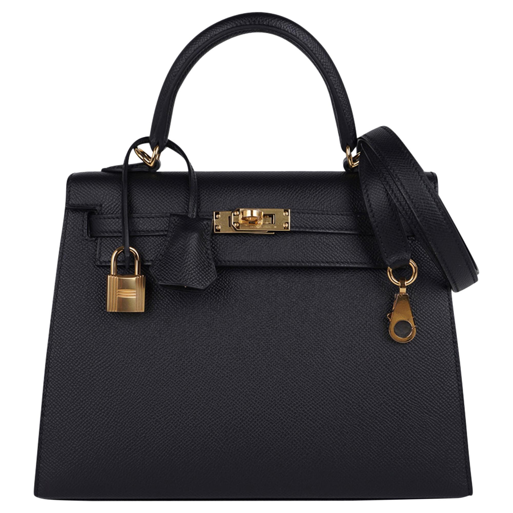 Hermes Kelly Sellier 25 Bag Black Epsom Gold Hardware New