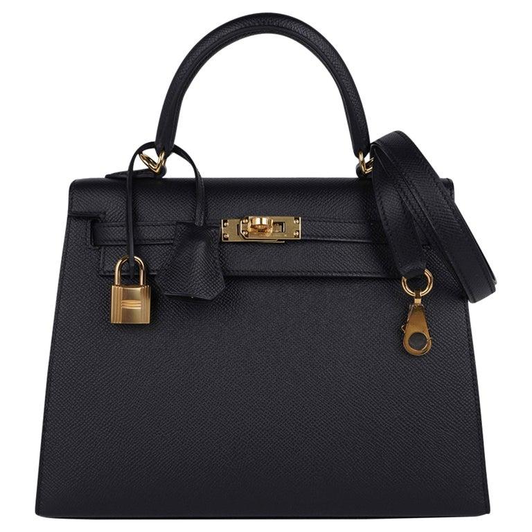 Hermes Kelly Sellier 25 Bag Black Epsom Gold Hardware New For Sale