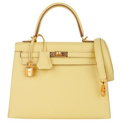 Hermes Kelly Sellier 25 Bag Jaune Poussin Gold Hardware Epsom Leather