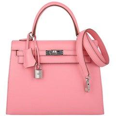 Hermes Kelly Sellier 25 Bag Pink Rose Confetti Palladium Hardware Epsom Leather