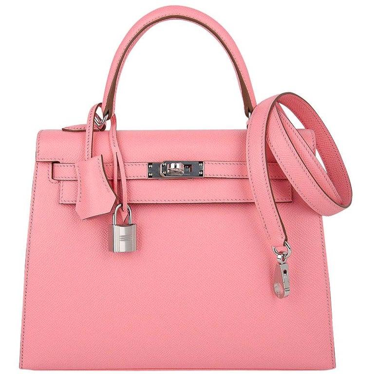 Hermes Kelly Sellier 25 Bag Pink Rose Confetti Palladium Hardware Epsom Leather For Sale