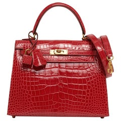 Hermes Kelly Sellier 25 Bag Rouge de Coeur Alligator Gold Hardware