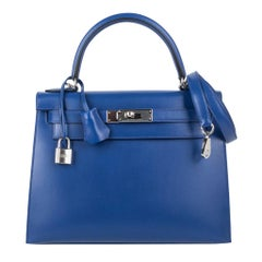 Hermes Kelly Sellier 28 Bag Blue Electric Tadelakt Leather Palladium Hardware