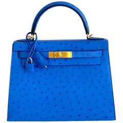 Hermes Kelly Sellier 28 Bag Ostrich Bleuete  Gold Hardware