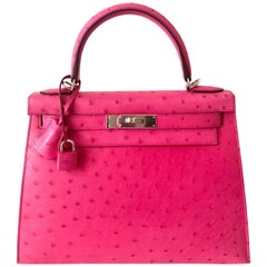 Hermes Kelly Sellier 28 Bag Ostrich Rare Rose Tyrien Pink Palladium Hardware