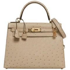 Hermes Kelly Sellier 28 Bag Parchemin Ostrich w/ Ostrich Classic Kelly Wallet