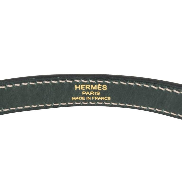 Hermes Kelly Sellier 28 HSS Bag Gris Agate / Vert Titien Ostrich Gold Hardware For Sale 7