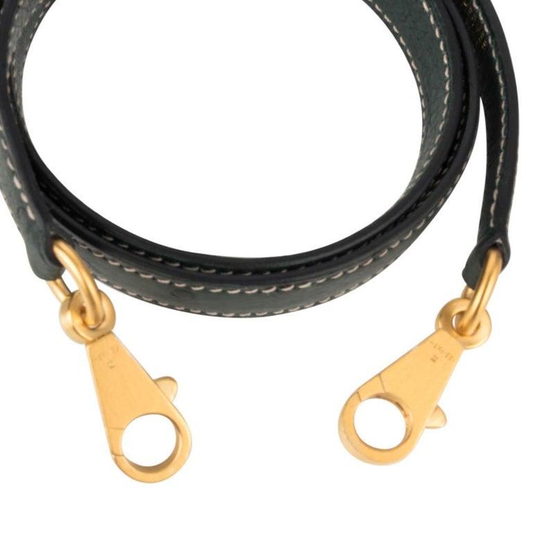 Hermes Kelly Sellier 28 HSS Bag Gris Agate / Vert Titien Ostrich Gold Hardware For Sale 8