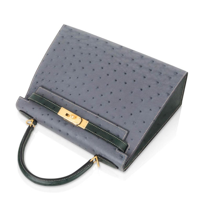 Hermes Kelly Sellier 28 HSS Bag Gris Agate / Vert Titien Ostrich Gold Hardware For Sale 1