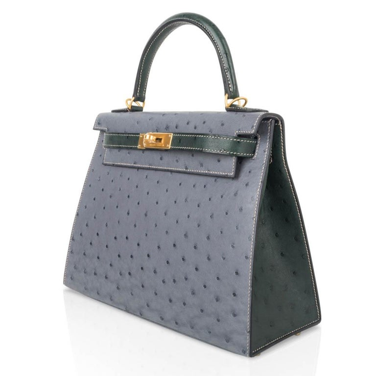 Hermes Kelly Sellier 28 HSS Bag Gris Agate / Vert Titien Ostrich Gold Hardware For Sale 2