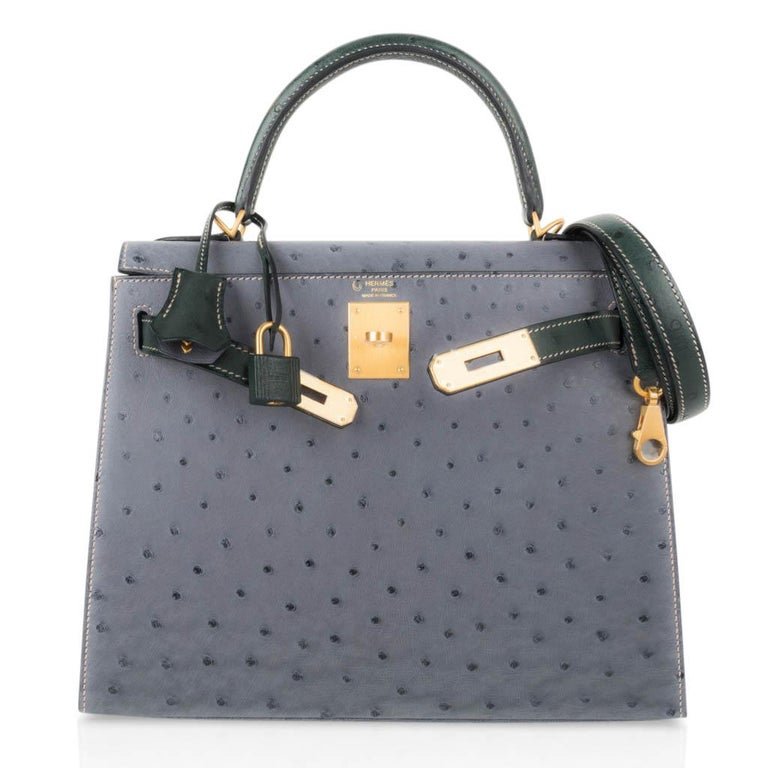 Hermes Kelly Sellier 28 HSS Bag Gris Agate / Vert Titien Ostrich Gold Hardware For Sale 3