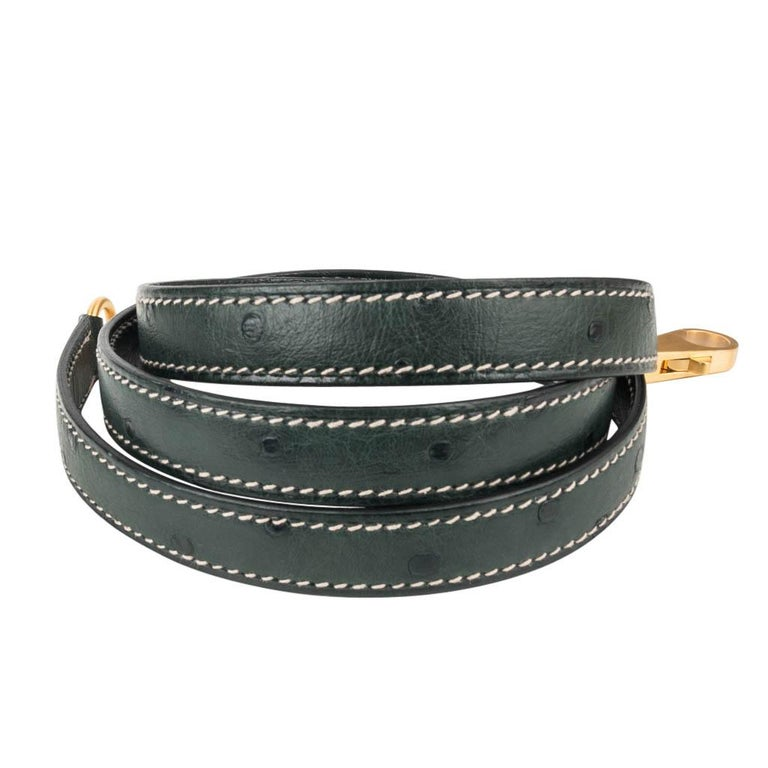 Hermes Kelly Sellier 28 HSS Bag Gris Agate / Vert Titien Ostrich Gold Hardware For Sale 4