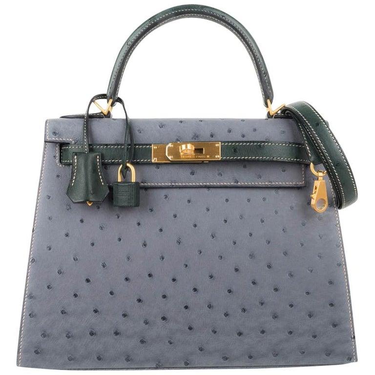 Hermes Kelly Sellier 28 HSS Bag Gris Agate / Vert Titien Ostrich Gold Hardware For Sale