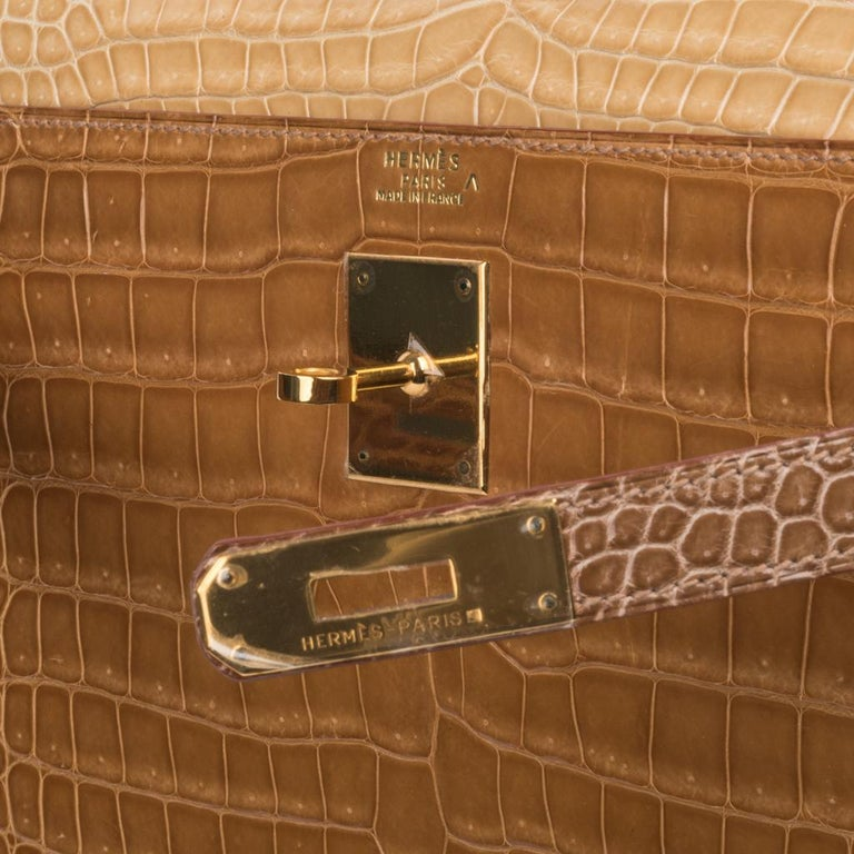Brown Hermes Kelly Sellier 32 Tri-Colour Porosus Crocodile Poussiere Poudre Ficelle For Sale