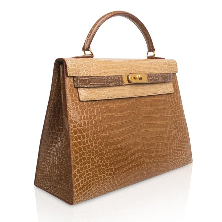 Women's Hermes Kelly Sellier 32 Tri-Colour Porosus Crocodile Poussiere Poudre Ficelle For Sale