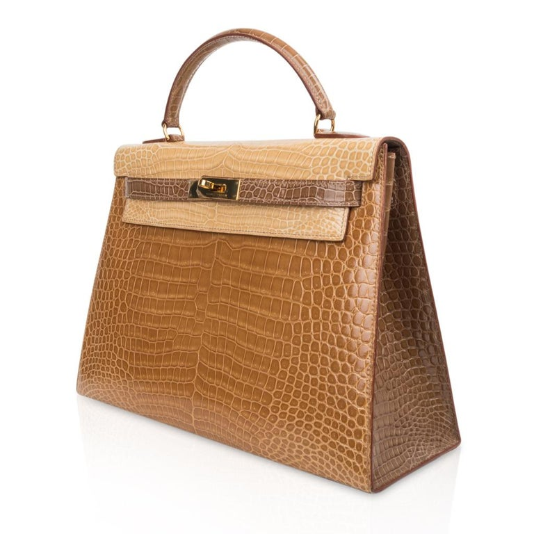 Hermes Kelly Sellier 32 Tri-Colour Porosus Crocodile Poussiere Poudre Ficelle For Sale 2