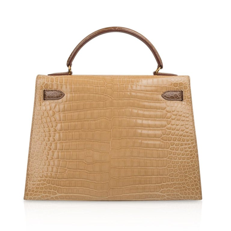 Hermes Kelly Sellier 32 Tri-Colour Porosus Crocodile Poussiere Poudre Ficelle For Sale 3