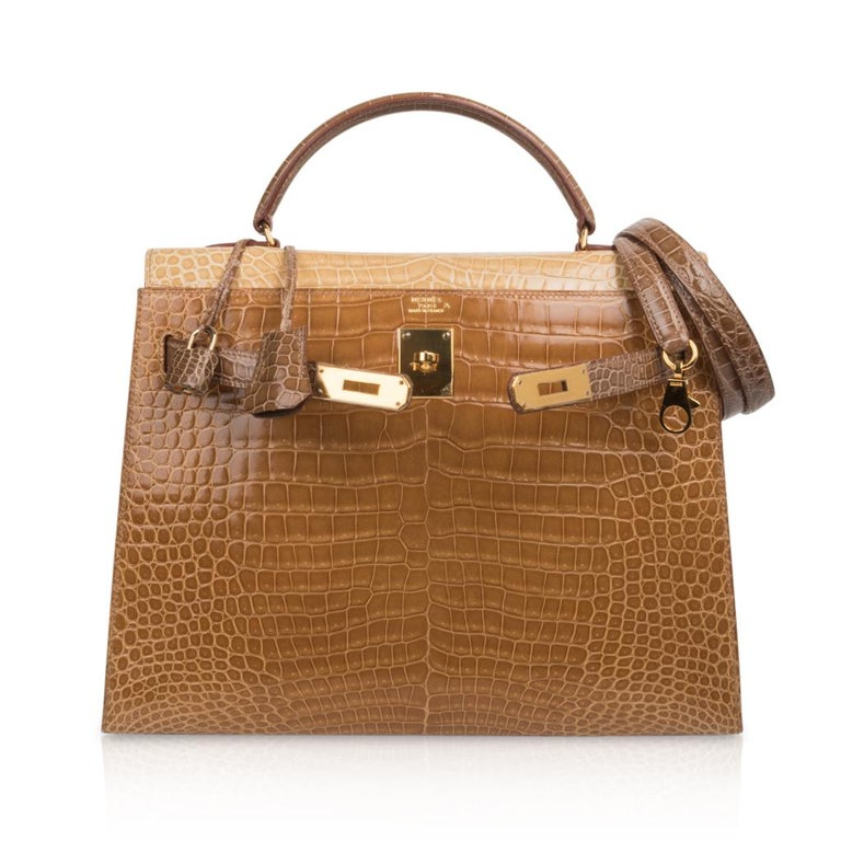 Hermes Kelly Sellier 32 Tri-Colour Porosus Crocodile Poussiere Poudre Ficelle For Sale 4