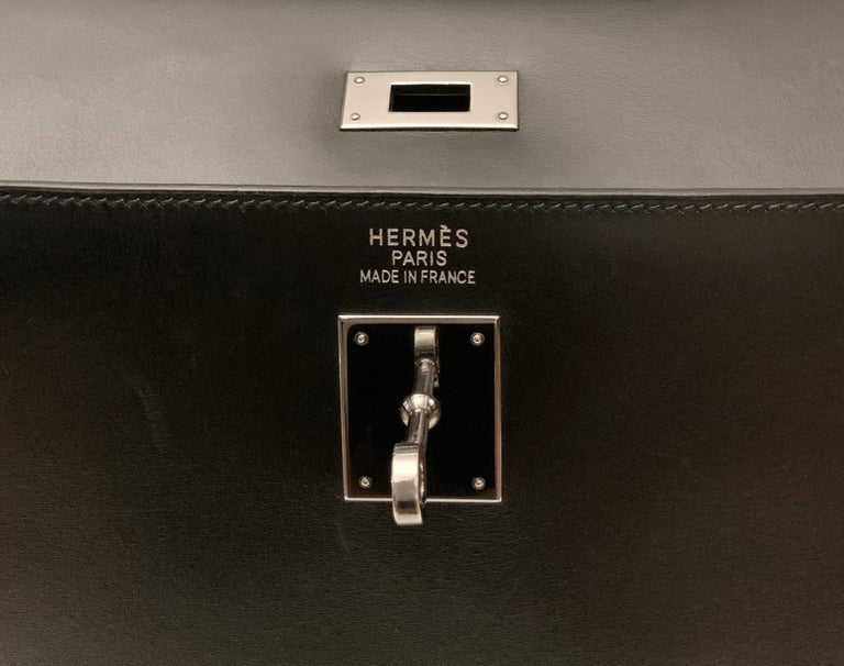 Hermès Kelly Sellier 35 Black Box Leather Bag In Good Condition For Sale In Geneva, CH