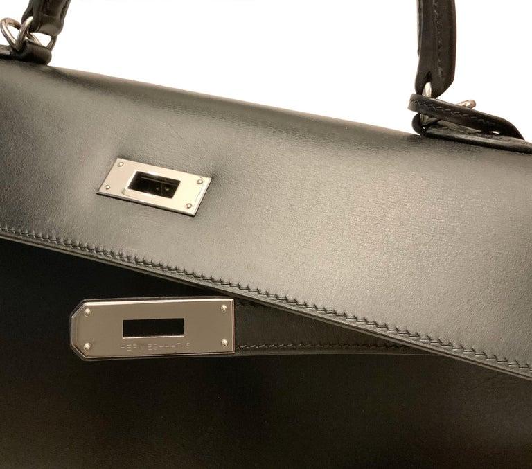 Hermès Kelly Sellier 35 Black Box Leather Bag For Sale 3