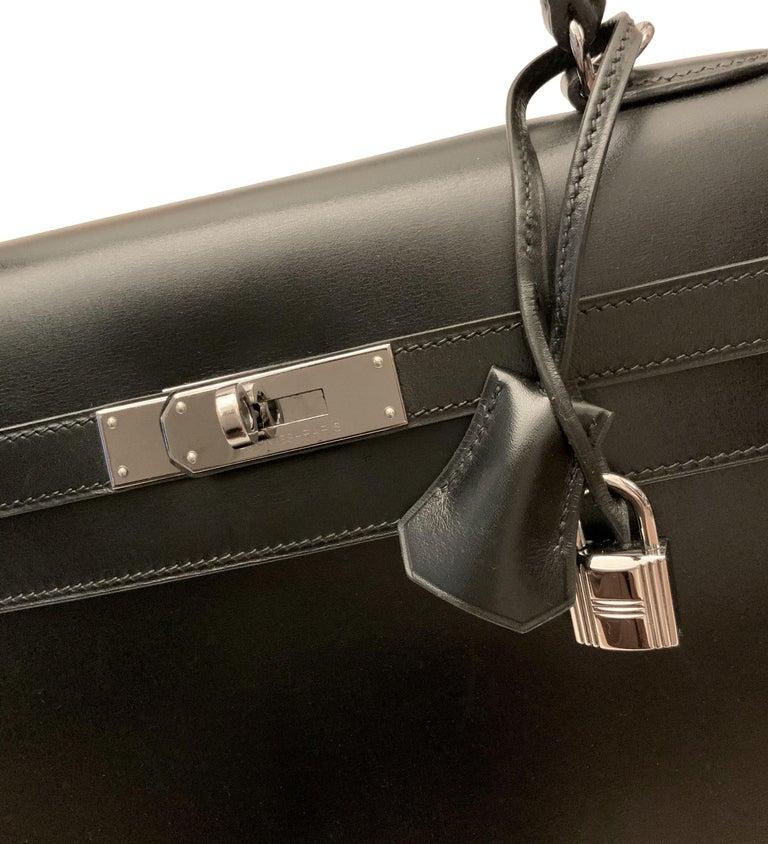 Hermès Kelly Sellier 35 Black Box Leather Bag For Sale 4