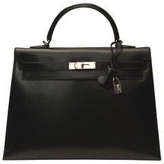 Hermès Kelly Sellier 35 Black Box Leather Bag