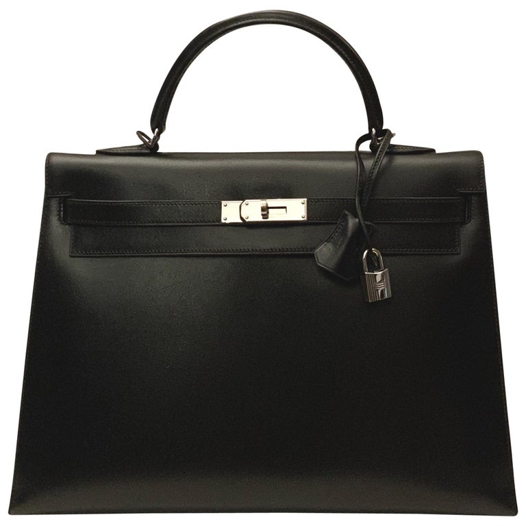 Hermès Kelly Sellier 35 Black Box Leather Bag For Sale