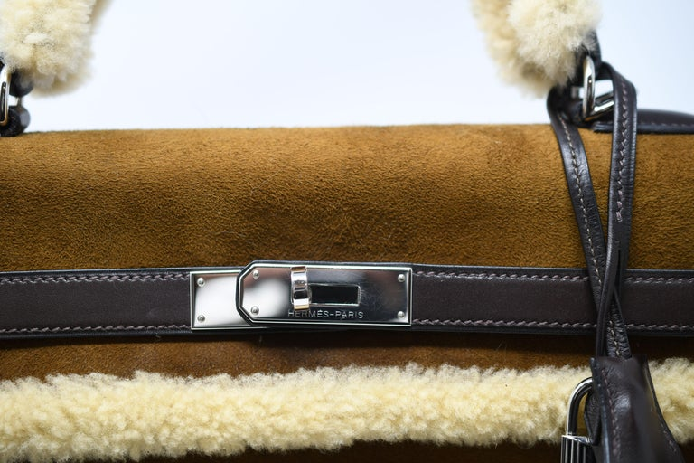 Hermès Kelly Sellier 35cm Teddy Shearling Bag PHW (Pre Owned) In Excellent Condition For Sale In Newport, RI