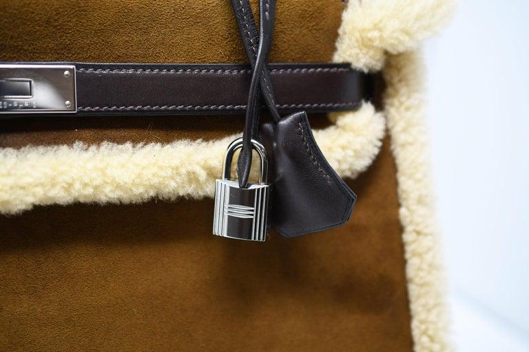 Women's or Men's Hermès Kelly Sellier 35cm Teddy Shearling Bag PHW (Pre Owned) For Sale