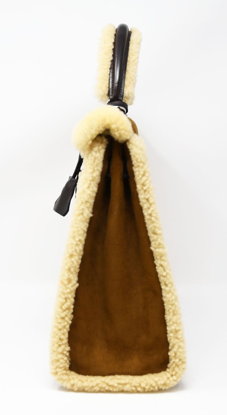 Hermès Kelly Sellier 35cm Teddy Shearling Bag PHW (Pre Owned) For Sale 1