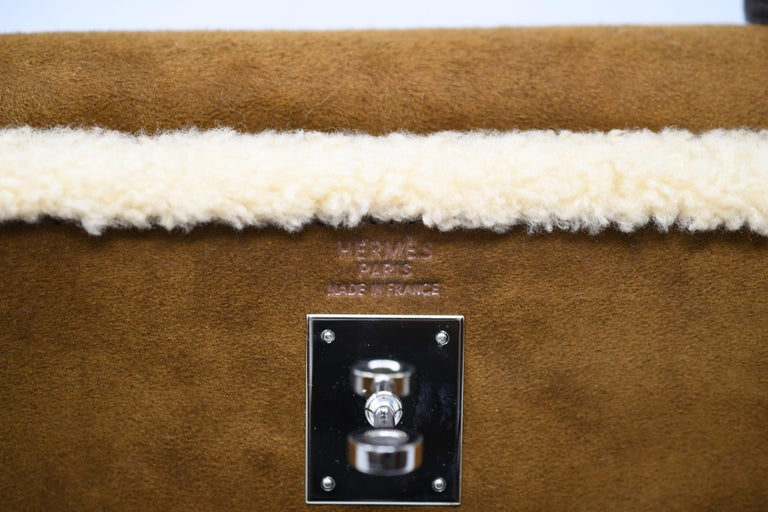 Hermès Kelly Sellier 35cm Teddy Shearling Bag PHW (Pre Owned) For Sale 2