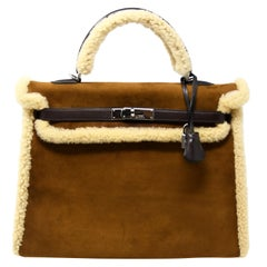 Hermès Kelly Sellier 35cm Teddy Shearling Bag PHW (Pre Owned)