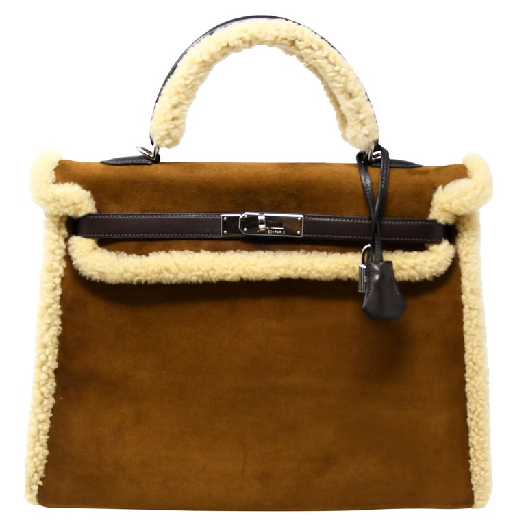 Hermès Kelly Sellier 35cm Teddy Shearling Bag PHW (Pre Owned) For Sale