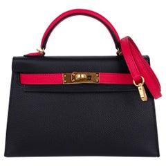 Hermes Kelly Sellier HSS 20 Mini Bag Black / Rose Extreme Epsom Gold Hardware