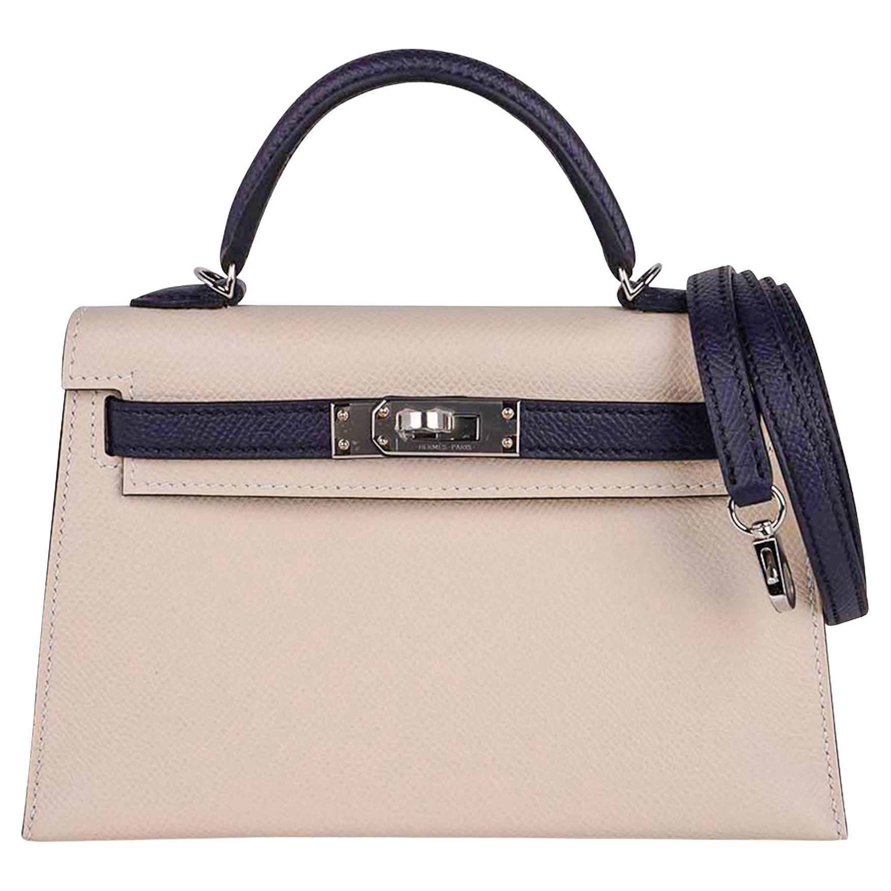 Hermes Kelly Sellier HSS 20 Mini Bag Craie / Bleu Indigo Epsom Palladium