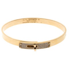 Hermes Kelly Small Model Diamond Yellow Gold Bangle Bracelet SH