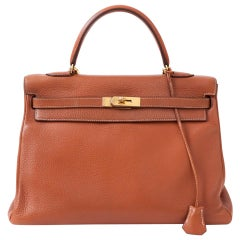 Hermes Kelly Taurillon Clemence Leather Bag