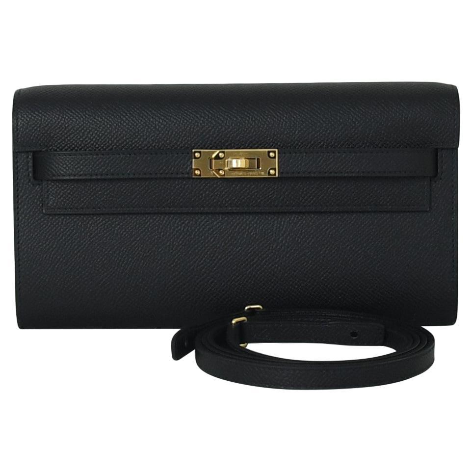 Hermes Kelly To-Go Wallet Gold Hardware Black