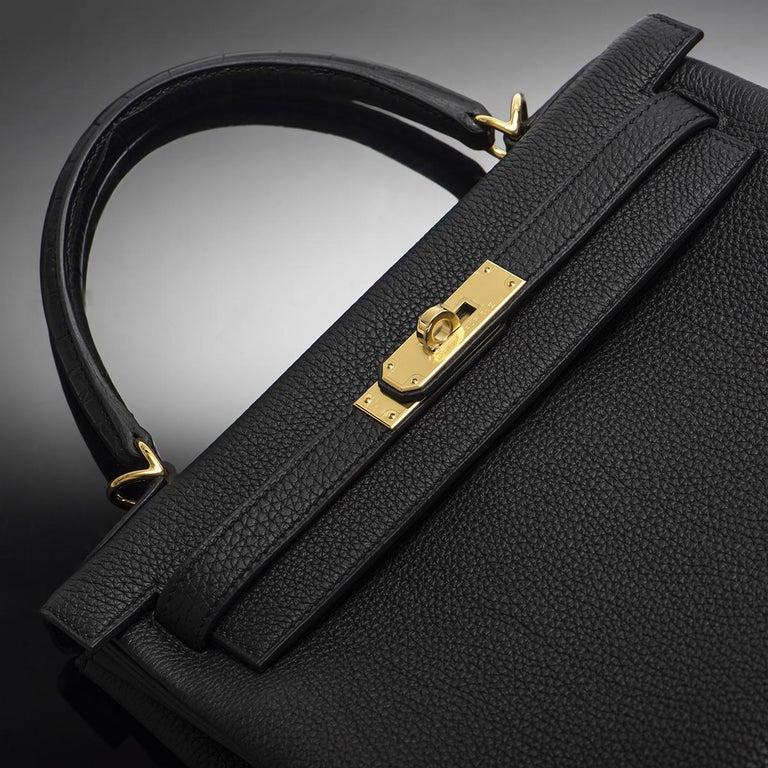 Hermès Kelly Touch 28 cm Noir Matte Alligator and Noir Togo GHW 5