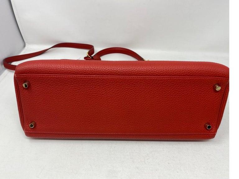 Hermes Kelly Vermilion Red 35 Bag For Sale 7